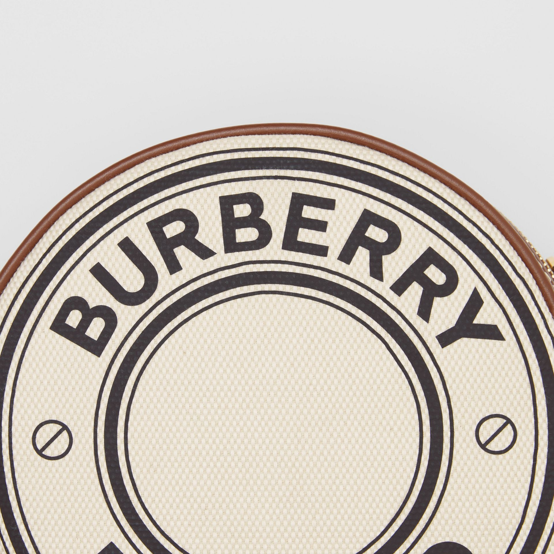 Logo Graphic Canvas and Leather Louise Bag in Natural - Women | Burberry United States - gallery image 1