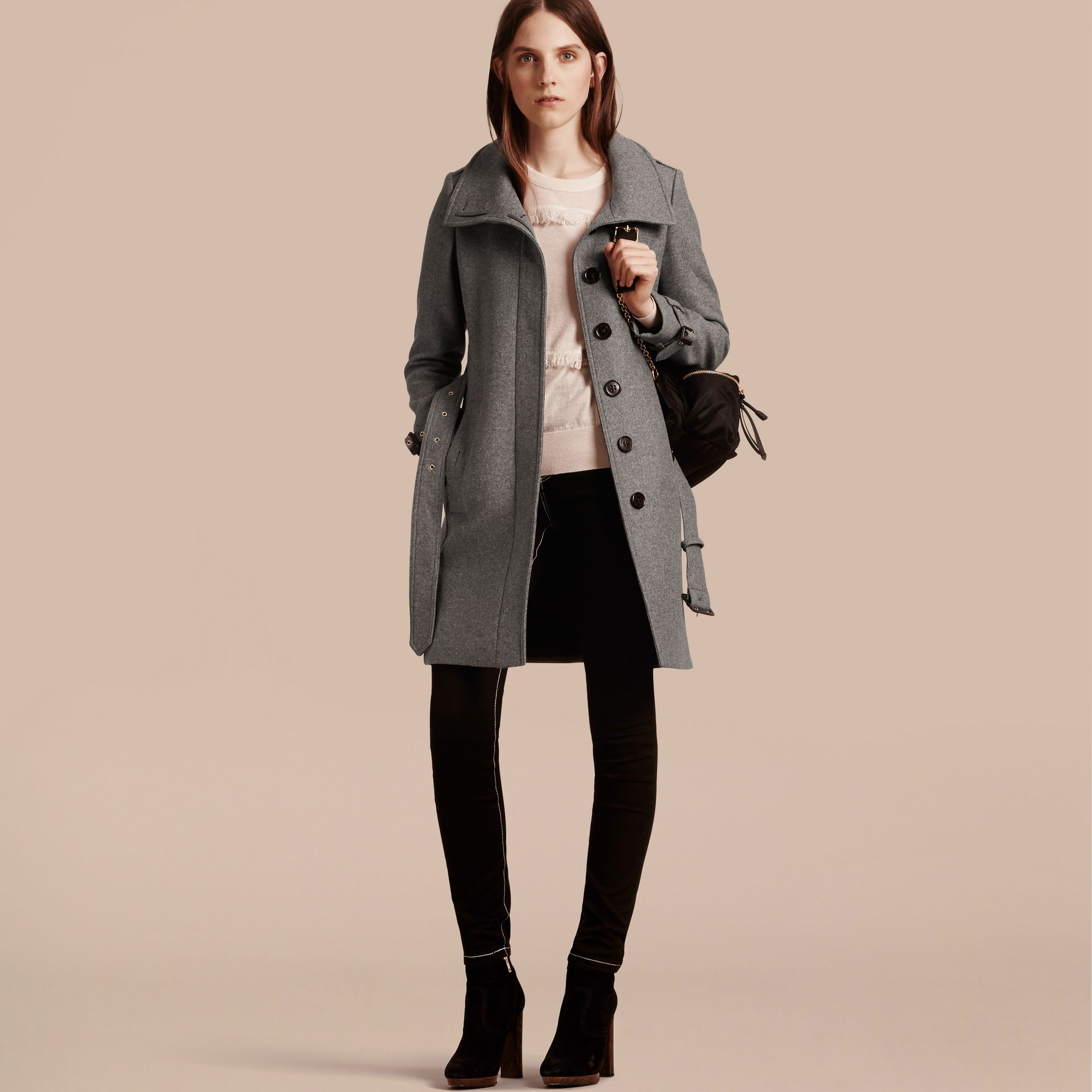 Technical Wool Cashmere Funnel Neck Coat in Steel Grey Melange - Women | Burberry - gallery image 8