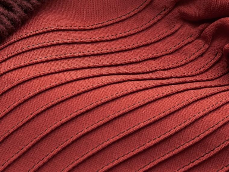 Vermelho canela Vestido camisa com pregas e babados - cell image 1