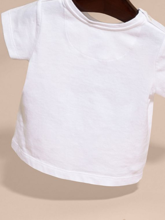 Bianco T-shirt in cotone con cane - cell image 3