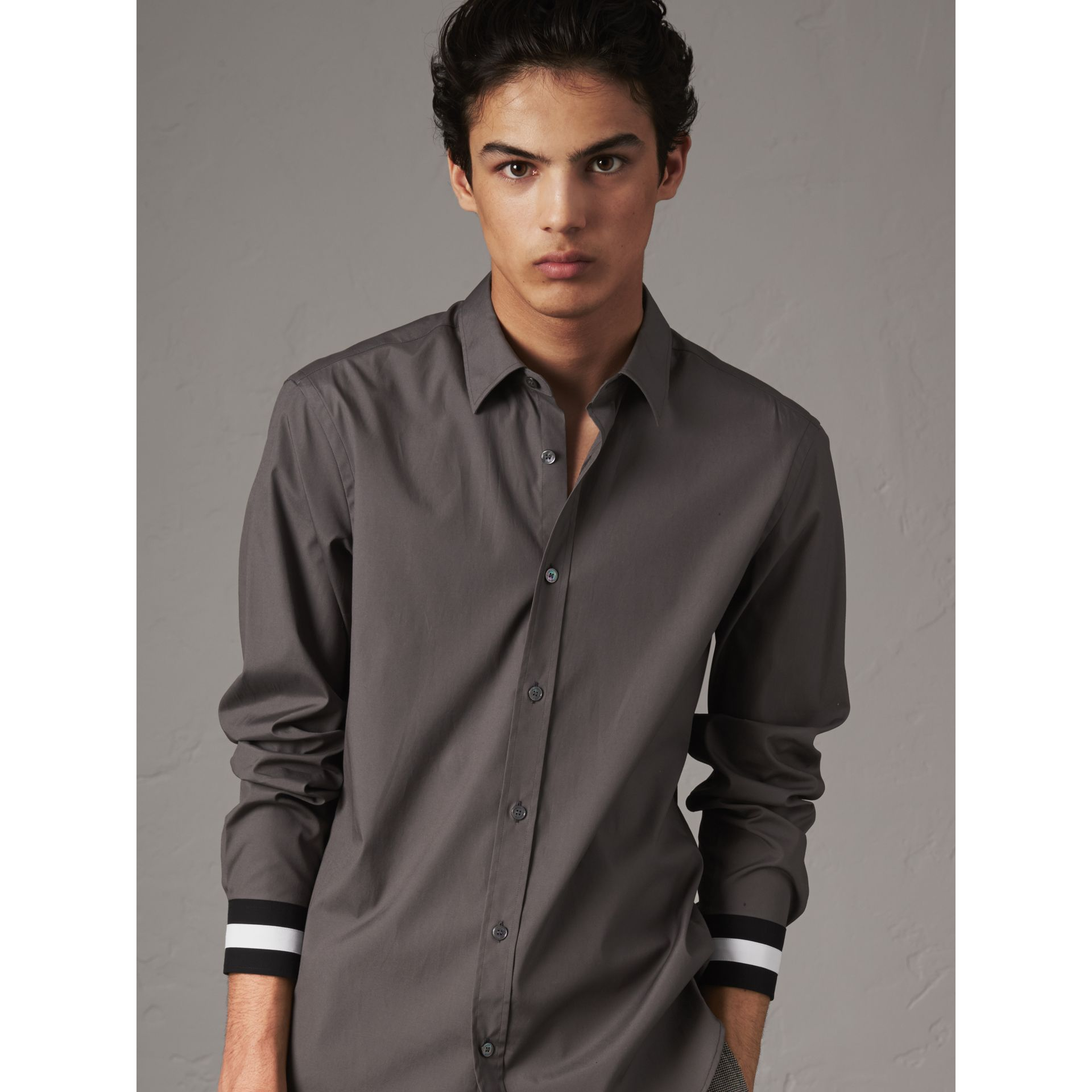 Striped Cuff Stretch Cotton Shirt in Stone Grey - Men | Burberry - gallery image 4