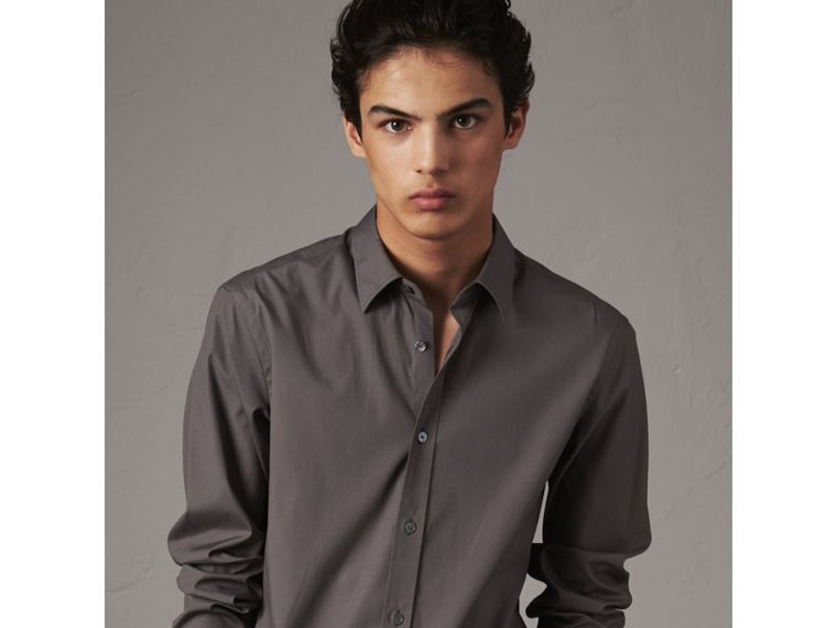 Striped Cuff Stretch Cotton Shirt in Stone Grey - Men | Burberry - cell image 4