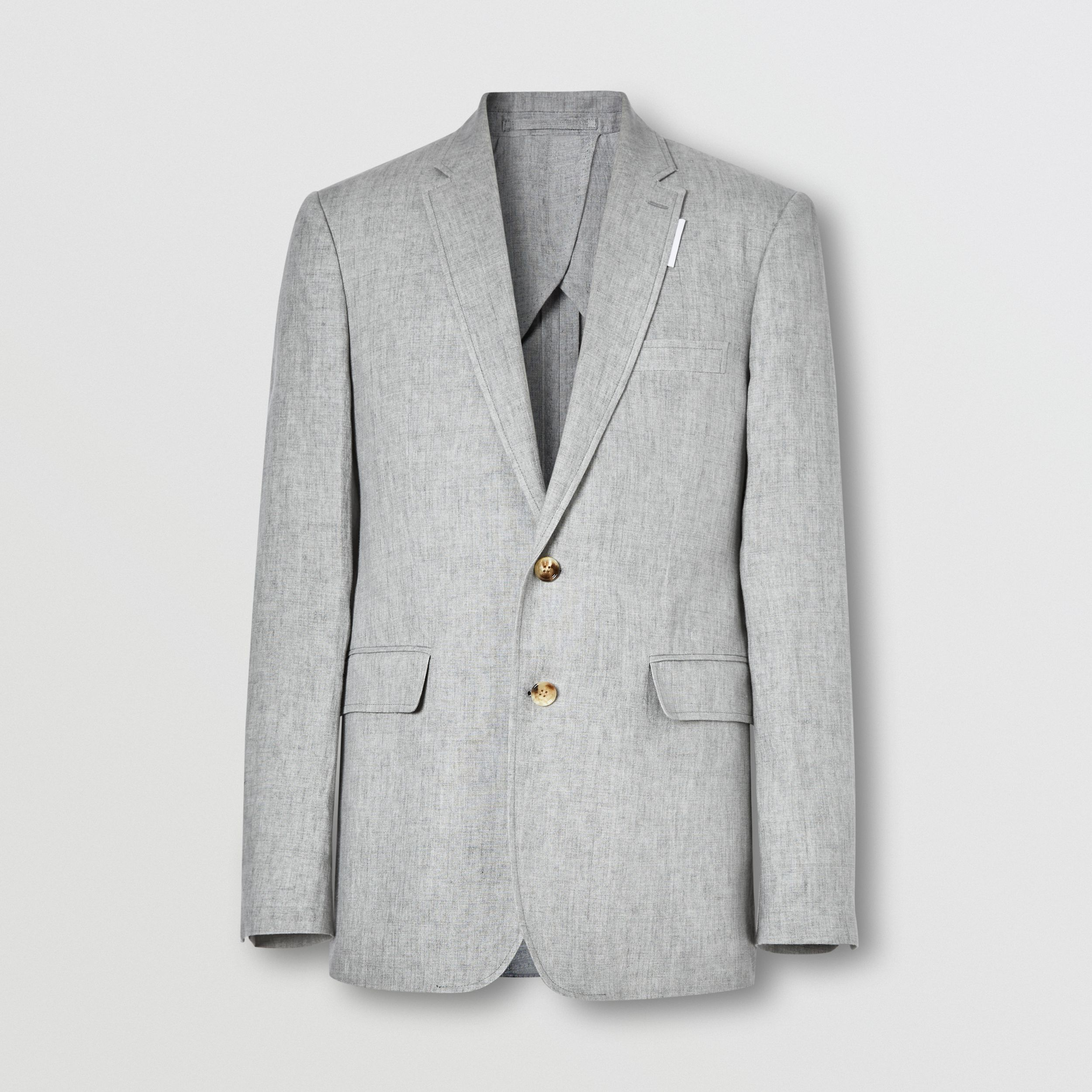 Slim Fit Linen Tailored Jacket in Heather Melange - Men | Burberry - 4
