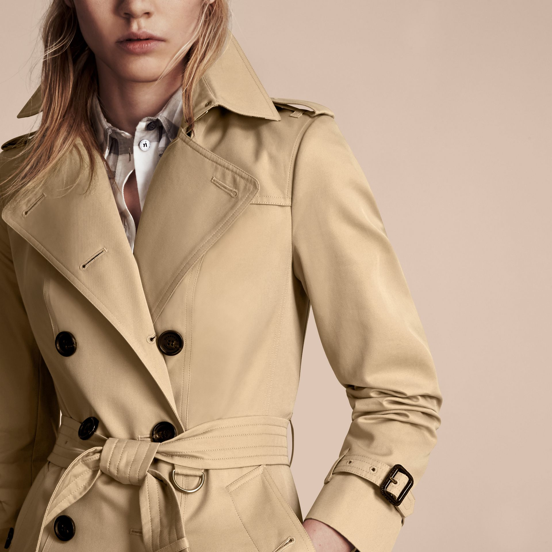 Honey The Sandringham – Mid-Length Heritage Trench Coat Honey - gallery image 5
