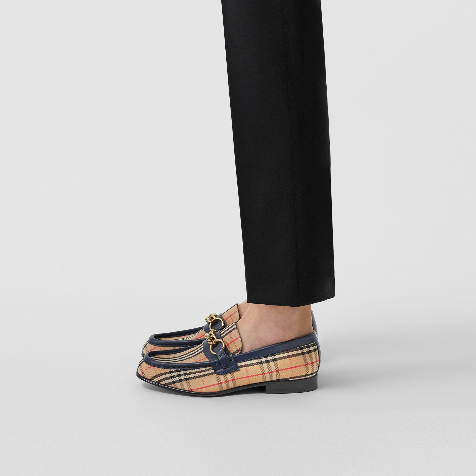 The 1983 Check Link Loafer in Ink Blue - Women | Burberry Australia - gallery image 2