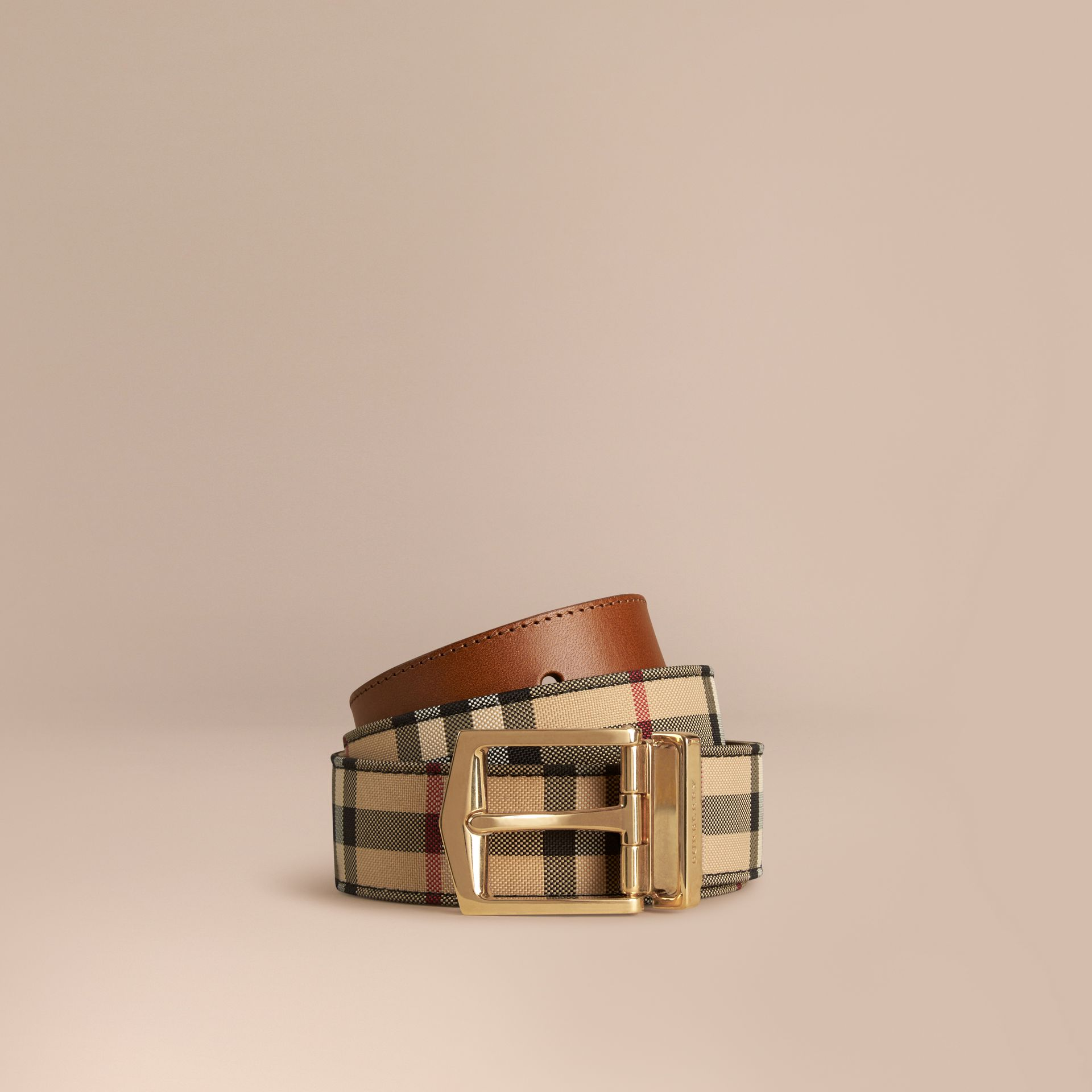 Reversible Horseferry Check and Leather Belt in Tan - gallery image 1