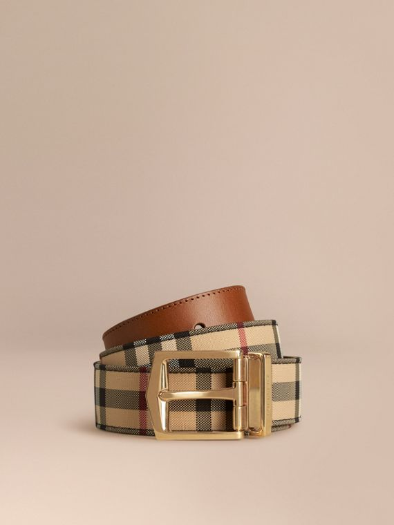 Reversible Horseferry Check and Leather Belt Tan