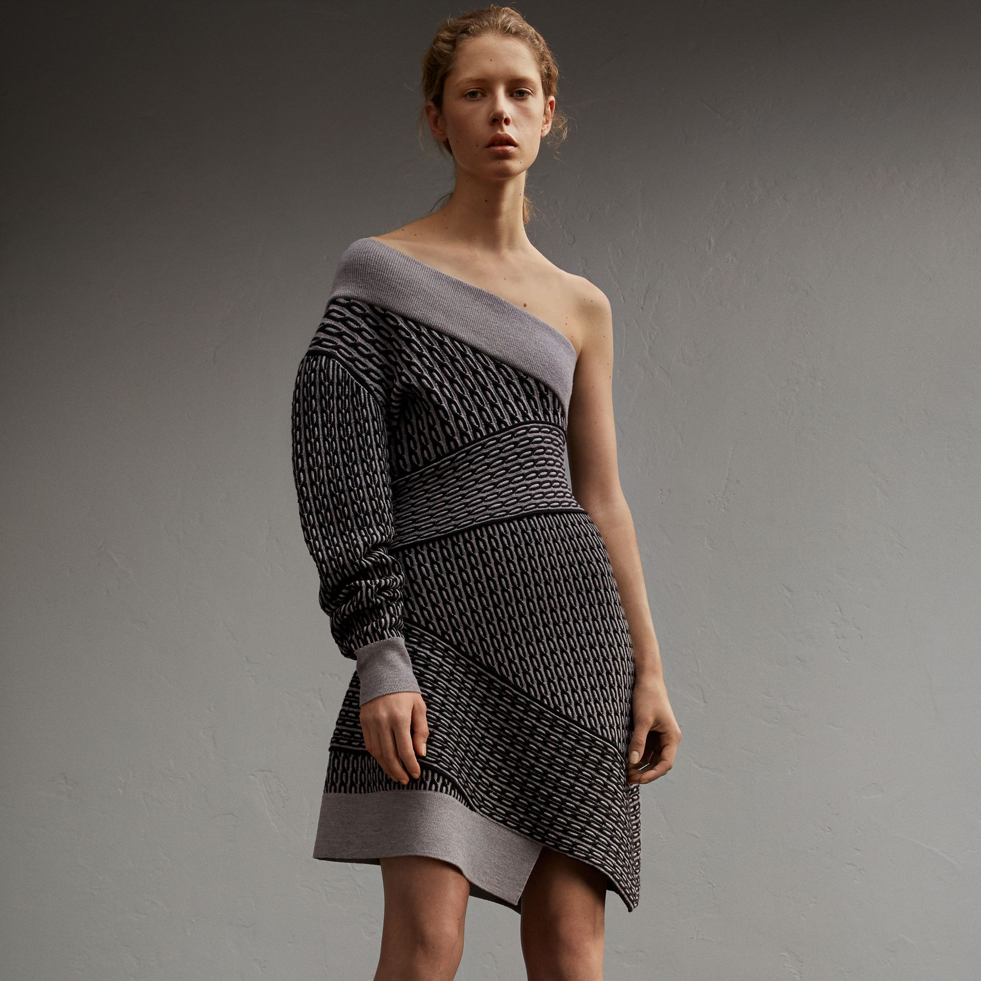 One-shoulder Cable Knit Wool Blend Dress in Grey Melange/black - Women | Burberry - gallery image 1