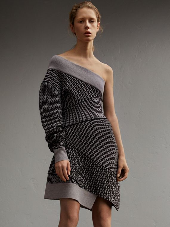 One-shoulder Cable Knit Wool Blend Dress