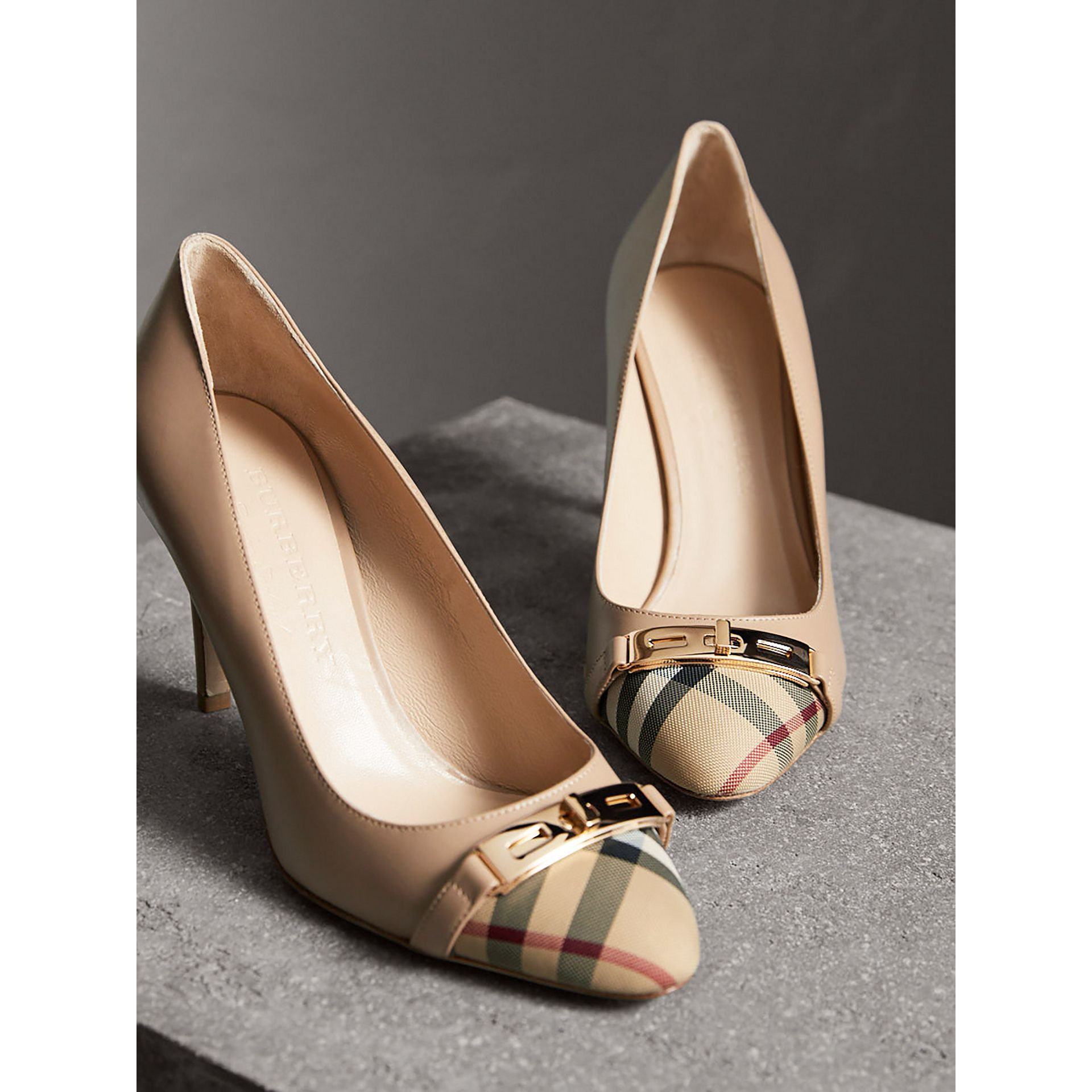 Horseferry Check Leather Pumps in Light Nude - Women | Burberry - gallery image 4