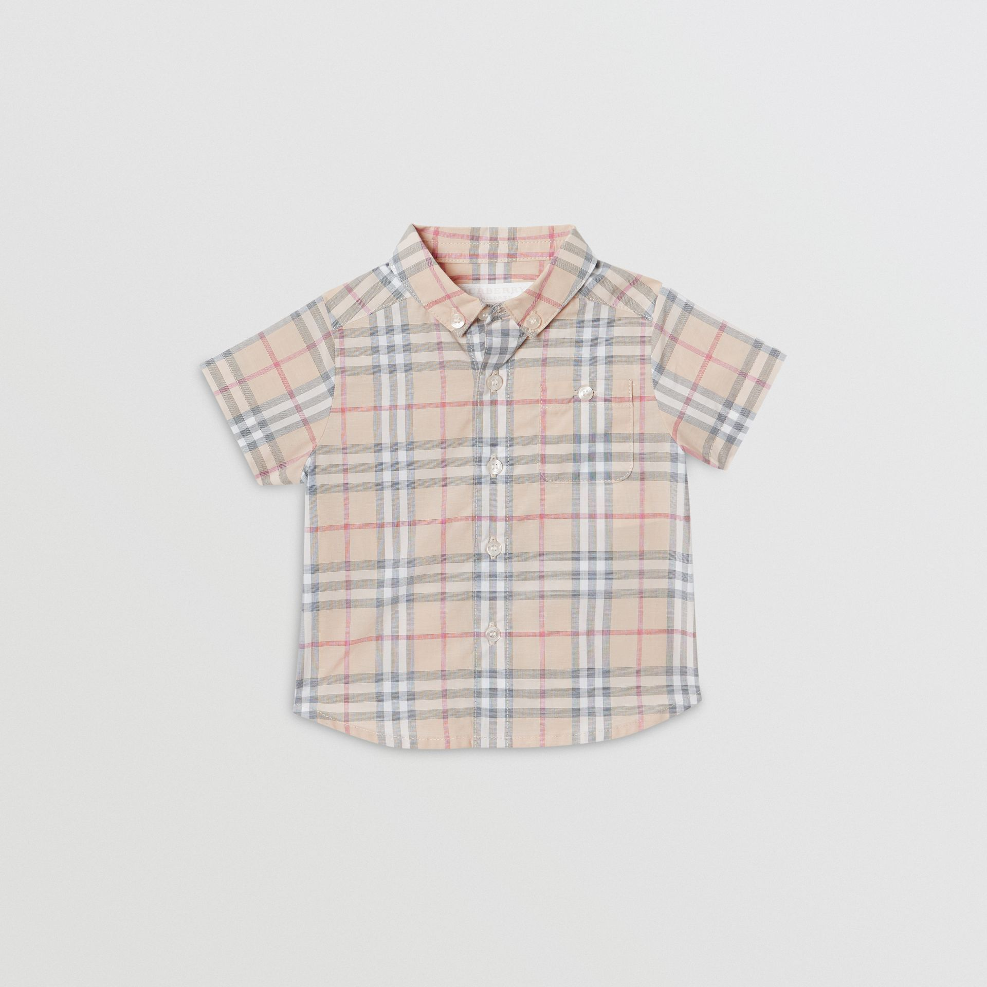 Button-down Collar Short-sleeve Check Cotton Shirt in Pale Stone - Children | Burberry United States - gallery image 0