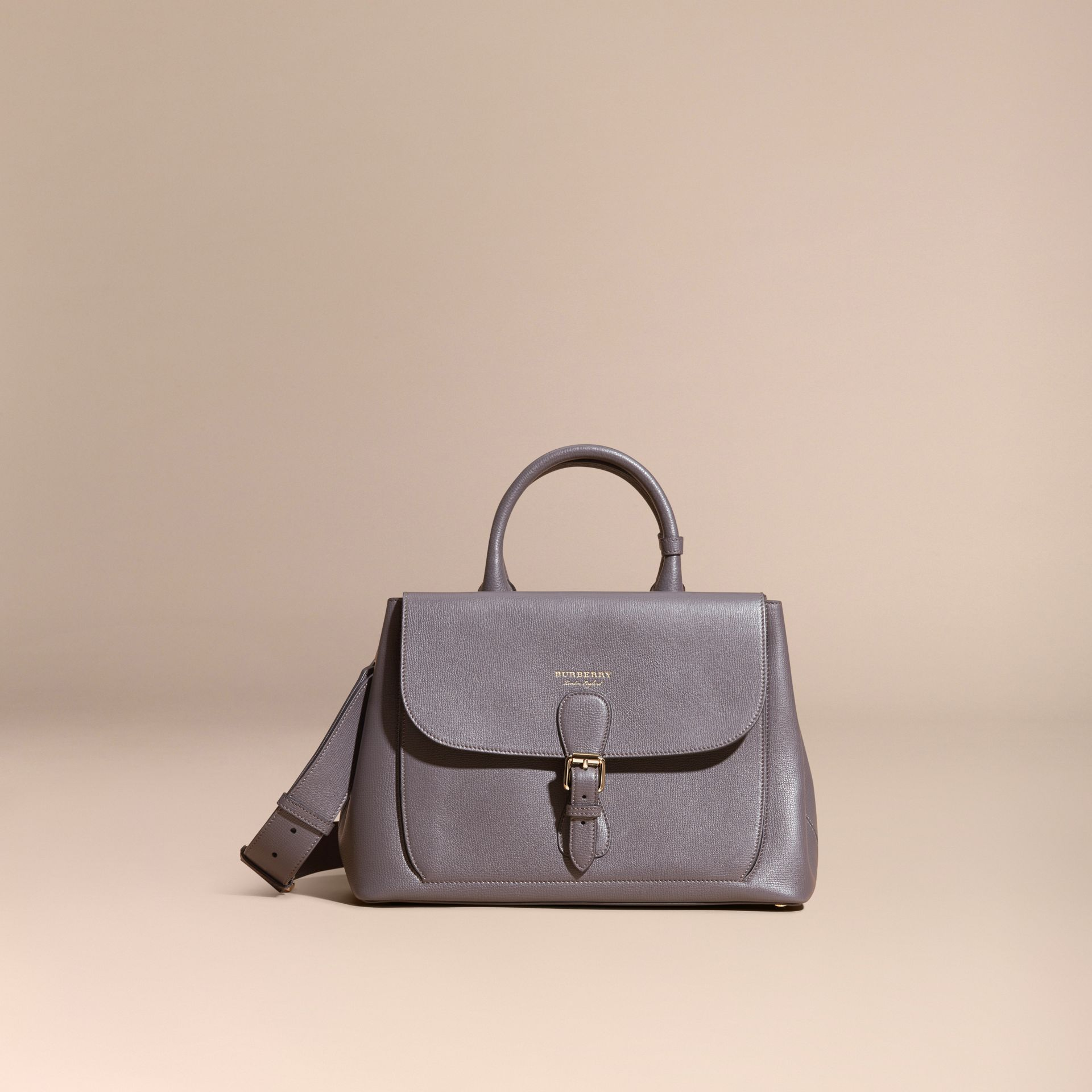 Sepia grey The Medium Saddle Bag in Grainy Bonded Leather Sepia Grey - gallery image 8