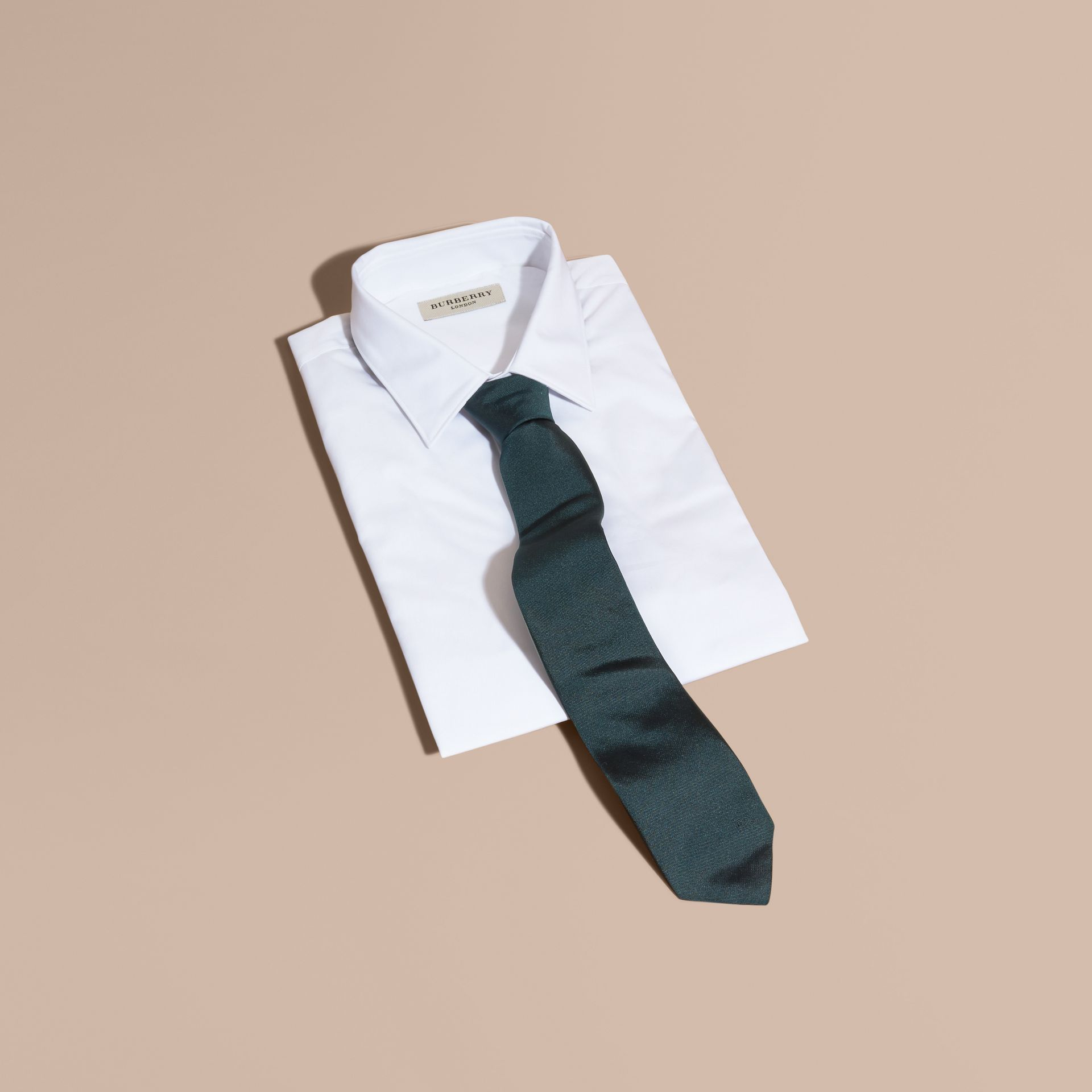 Green/black Modern Cut Silk Twill Tie Green/black - gallery image 3