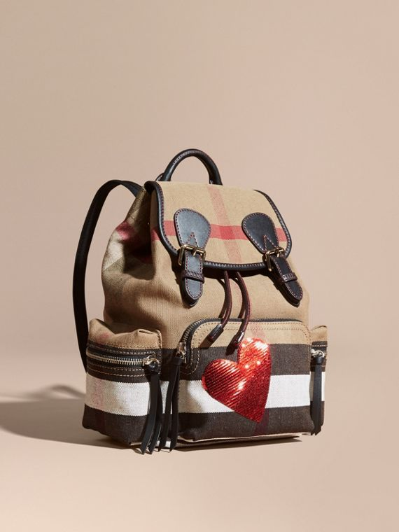 The Medium Rucksack in Canvas Check with Sequinned Heart