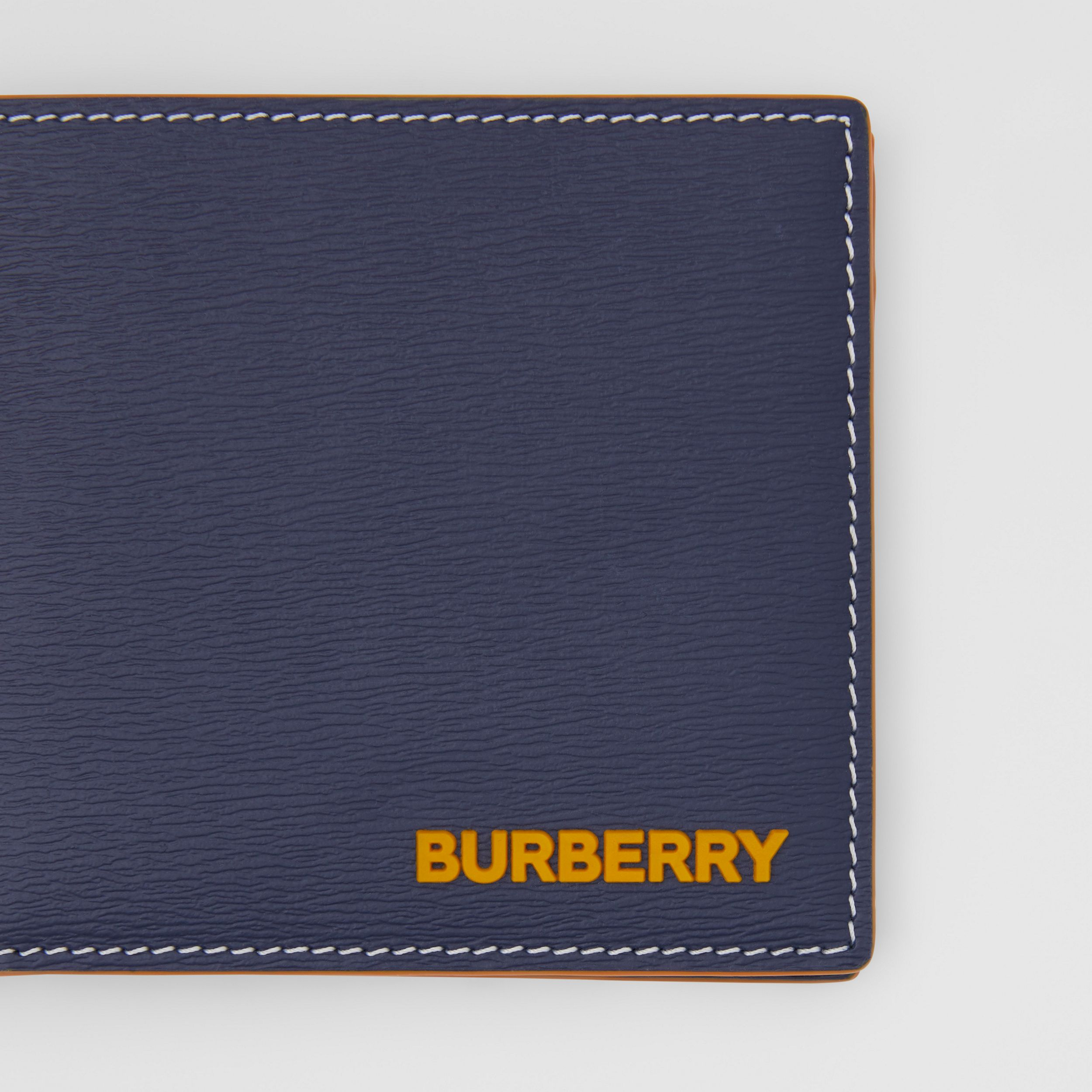 Topstitched Grainy Leather International Bifold Wallet in Navy - Men | Burberry - 2