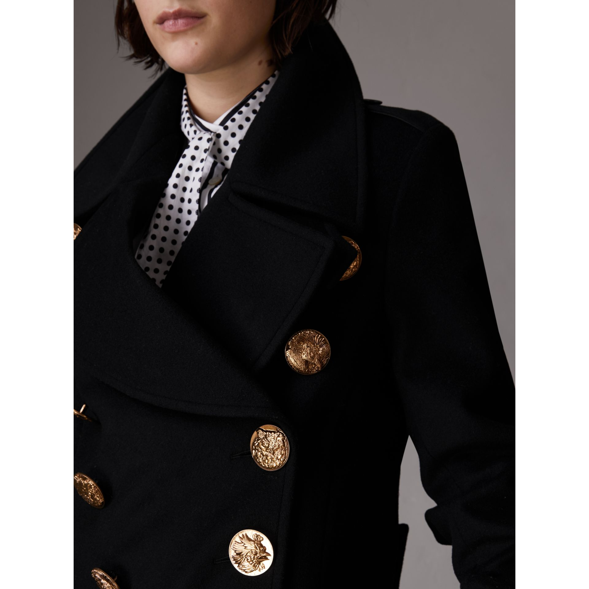 Bird Button Wool Blend Military Coat in Black - Women | Burberry - gallery image 4