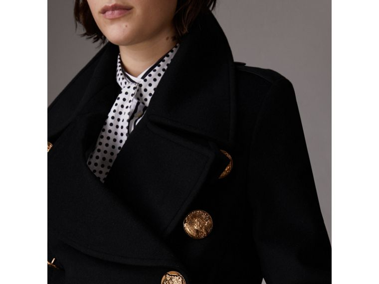 Bird Button Wool Blend Military Coat in Black - Women | Burberry - cell image 4