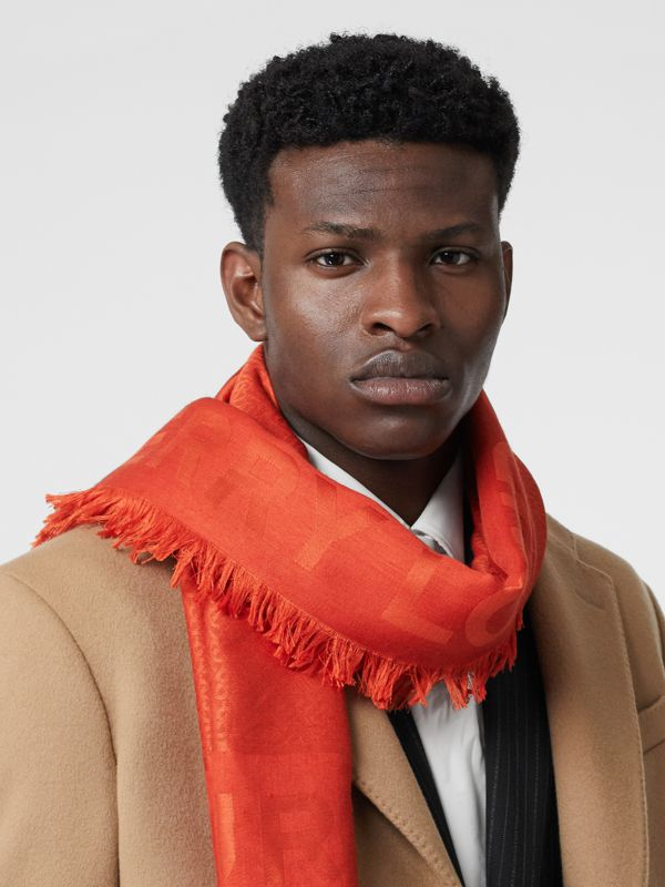Monogram Silk Wool Jacquard Large Square Scarf in Vermilion | Burberry Canada - cell image 3