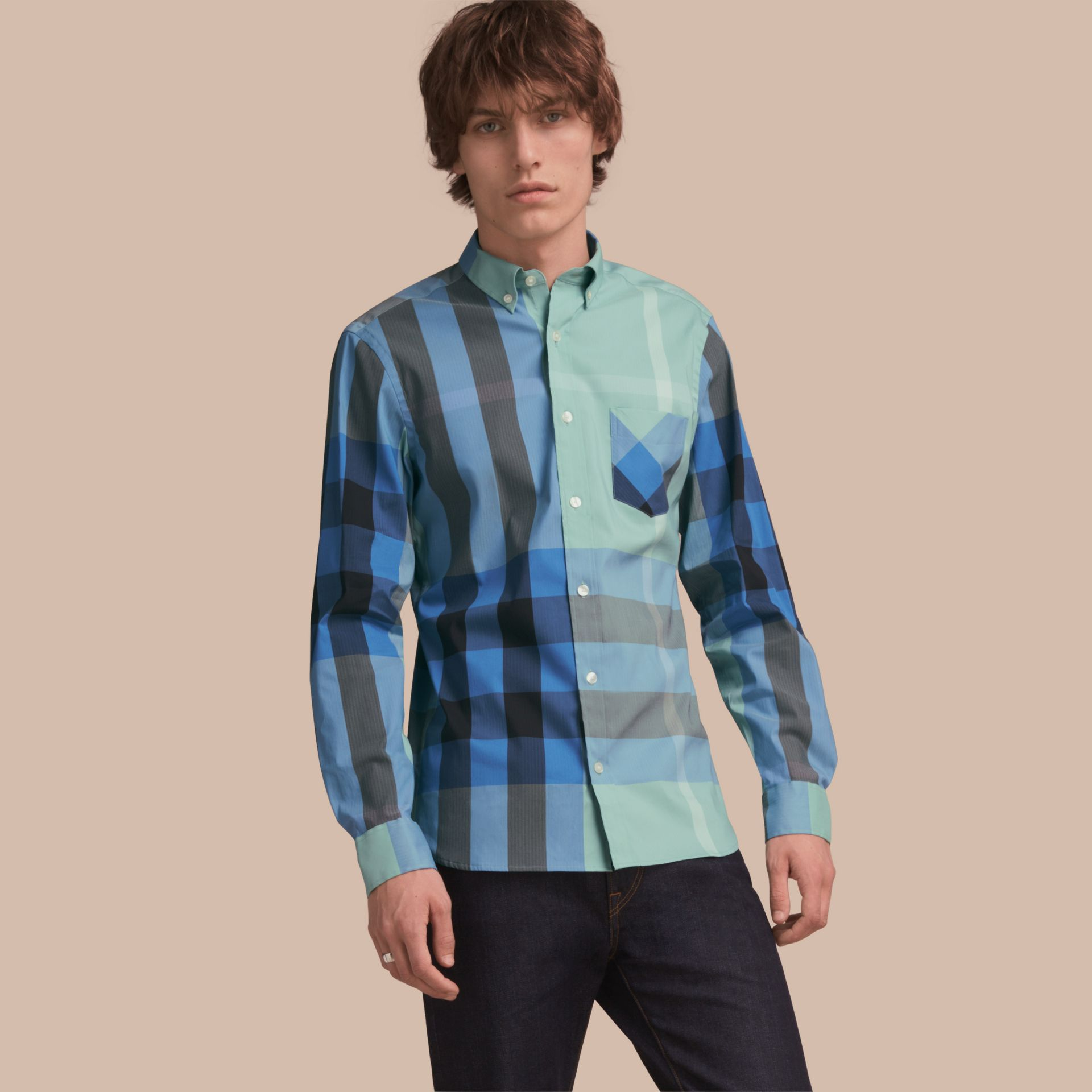 Button-down Collar Check Stretch Cotton Blend Shirt in Pale Opal - Men | Burberry - gallery image 1
