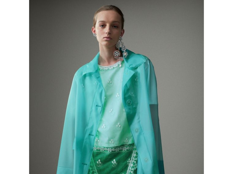 Soft-touch Plastic Single-breasted Jacket in Turquoise - Women | Burberry - cell image 1