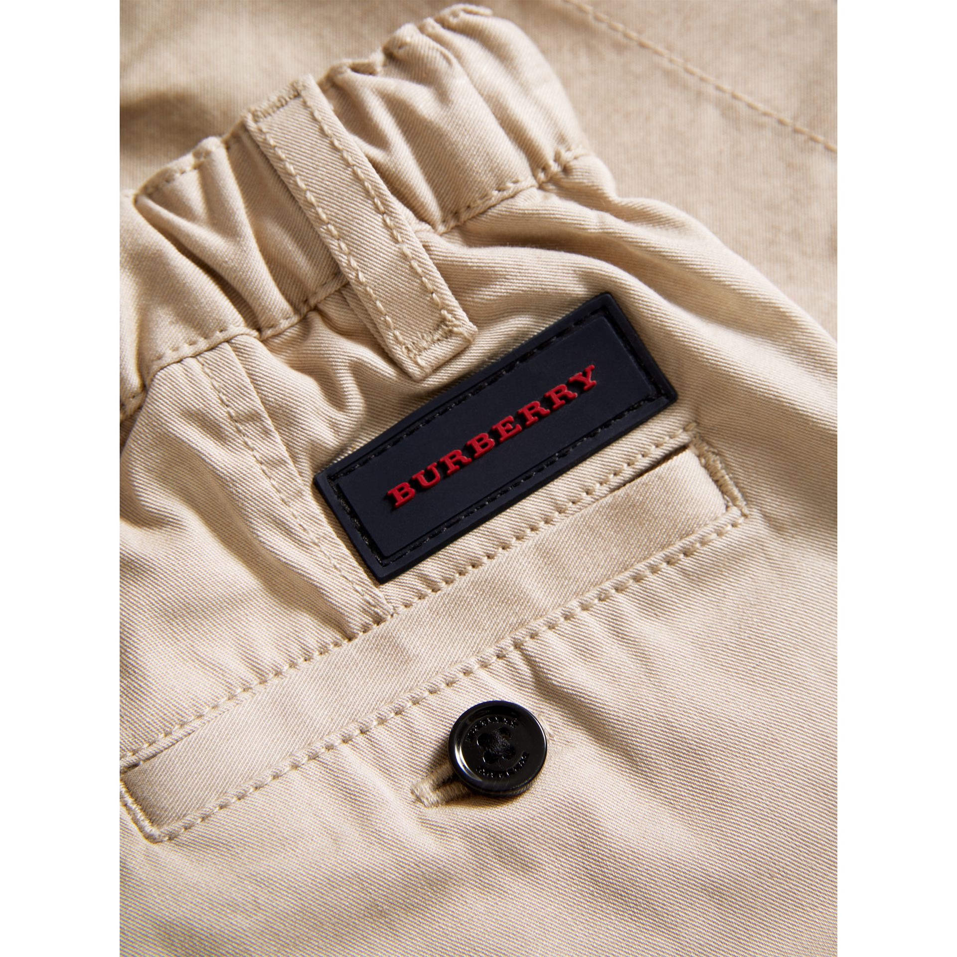 Cotton Twill Chinos in Grey Stone | Burberry Australia - gallery image 1