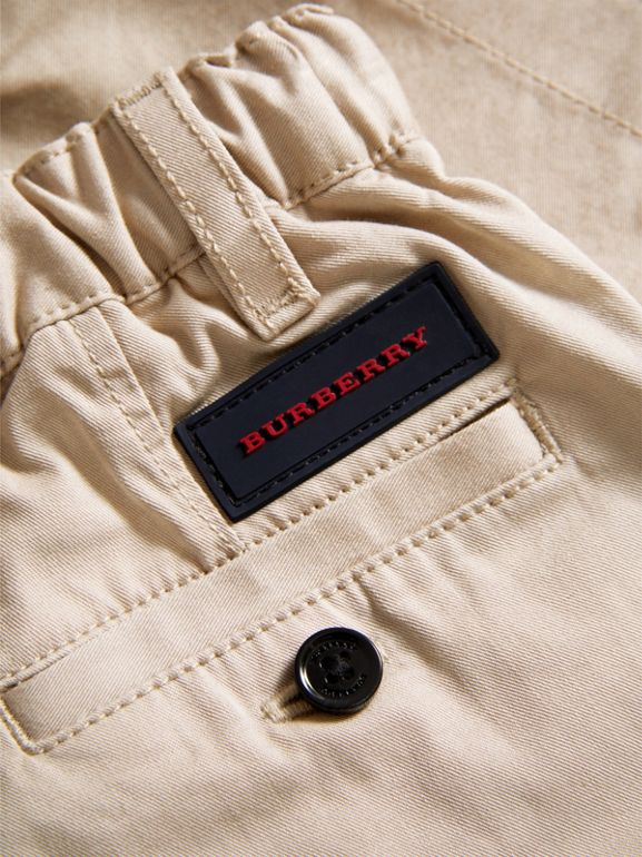 Cotton Twill Chinos in Grey Stone - Children | Burberry - cell image 1
