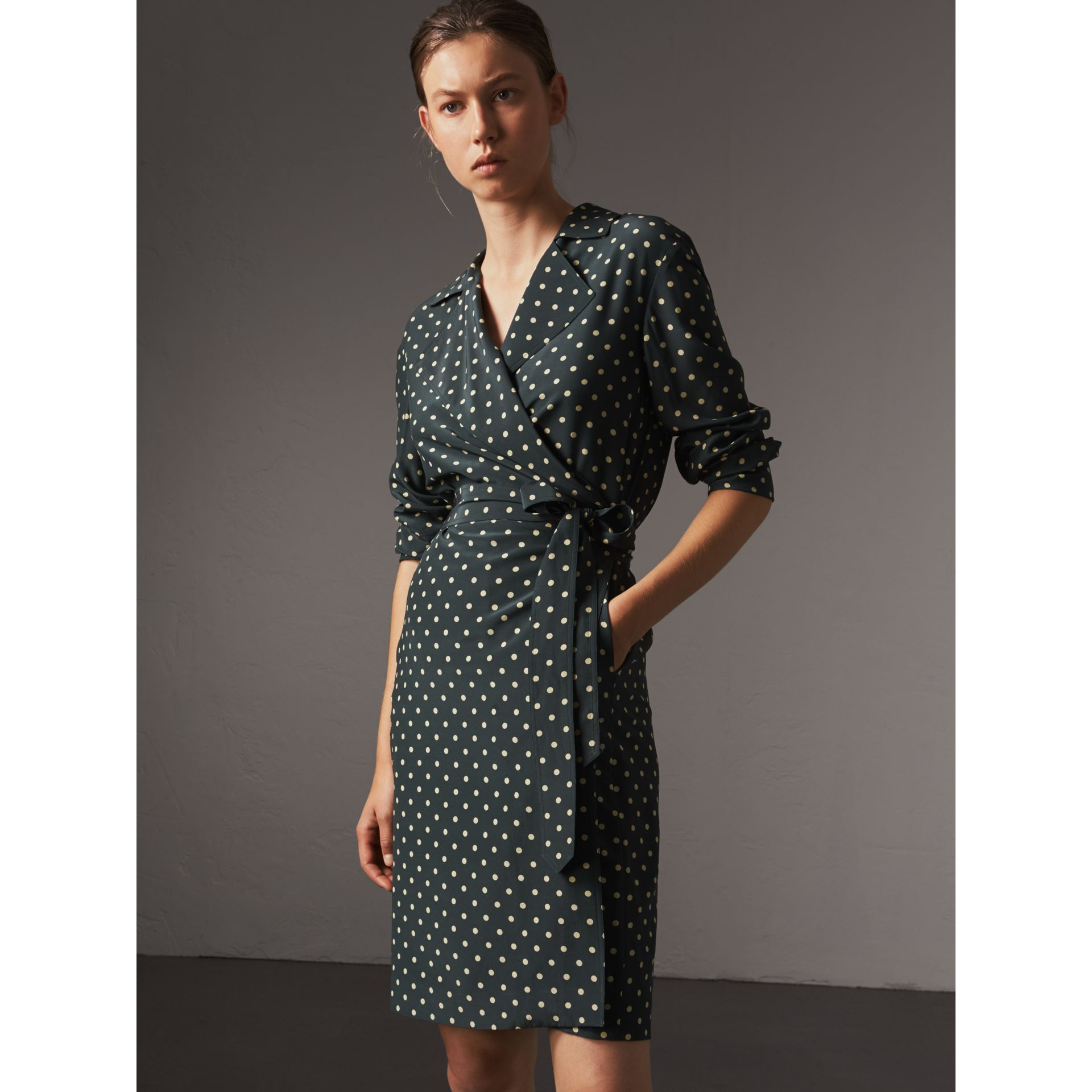 Polka-dot Silk Wrap Dress in Racing Green - Women | Burberry - gallery image 4