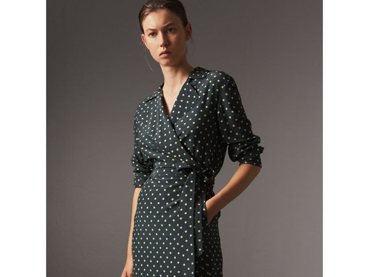 Polka-dot Silk Wrap Dress in Racing Green - Women | Burberry - cell image 4