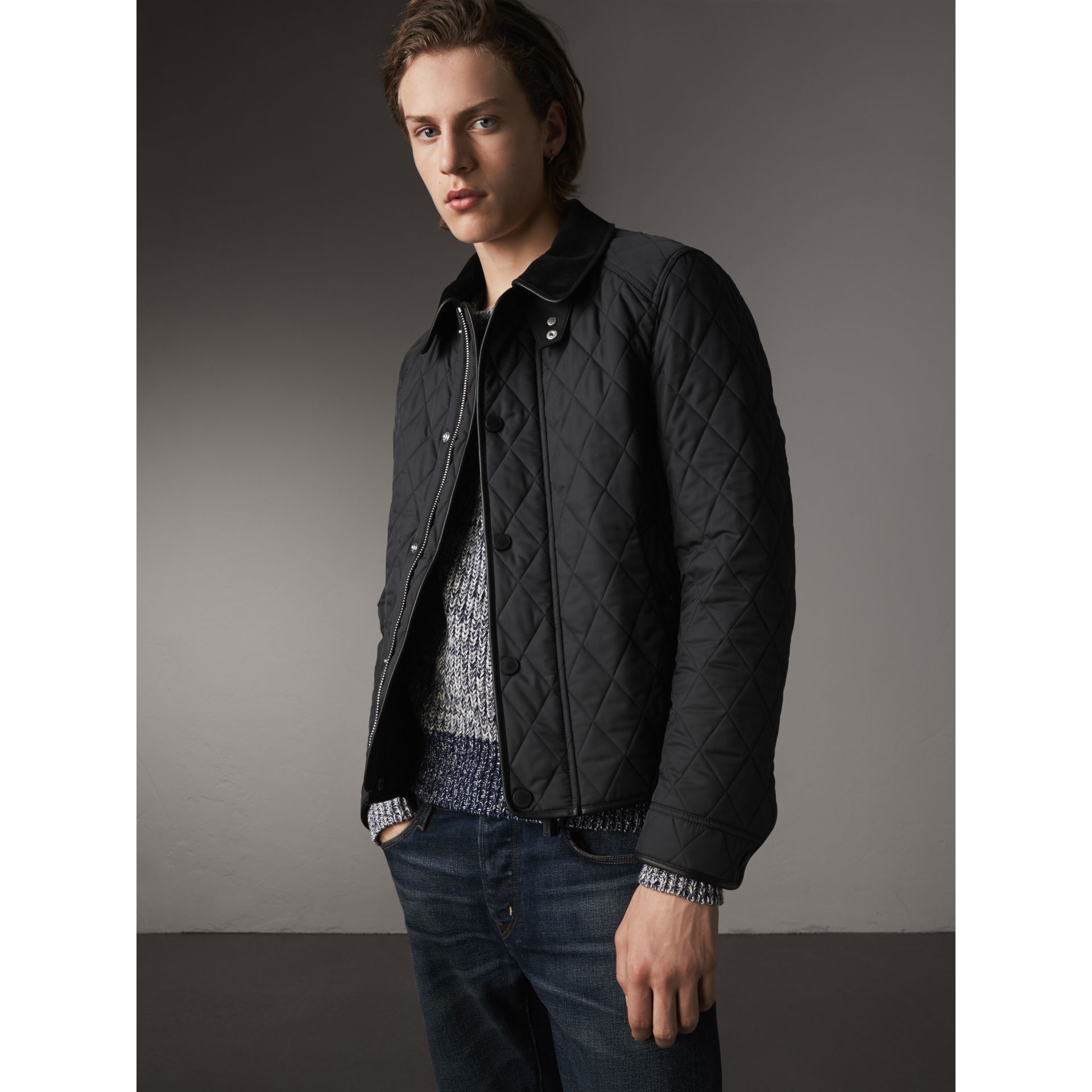 Leather Piping Corduroy Collar Quilted Jacket in Black - Men | Burberry - gallery image 1