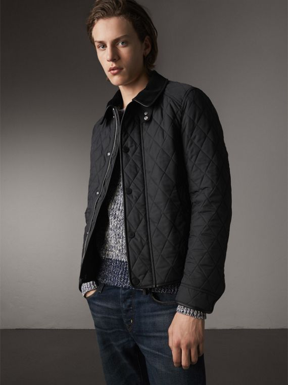 Leather Piping Corduroy Collar Quilted Jacket - Men | Burberry
