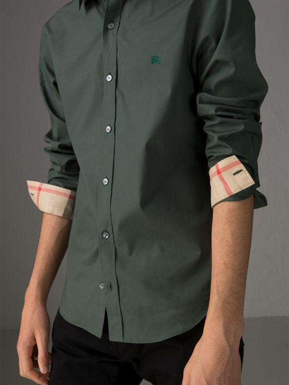 Check Detail Stretch Cotton Poplin Shirt in Dark Forest Green - Men | Burberry United States - cell image 3