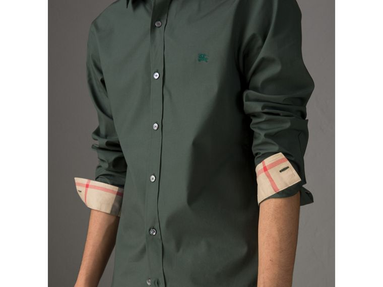 Check Detail Stretch Cotton Poplin Shirt in Dark Forest Green - Men | Burberry - cell image 1