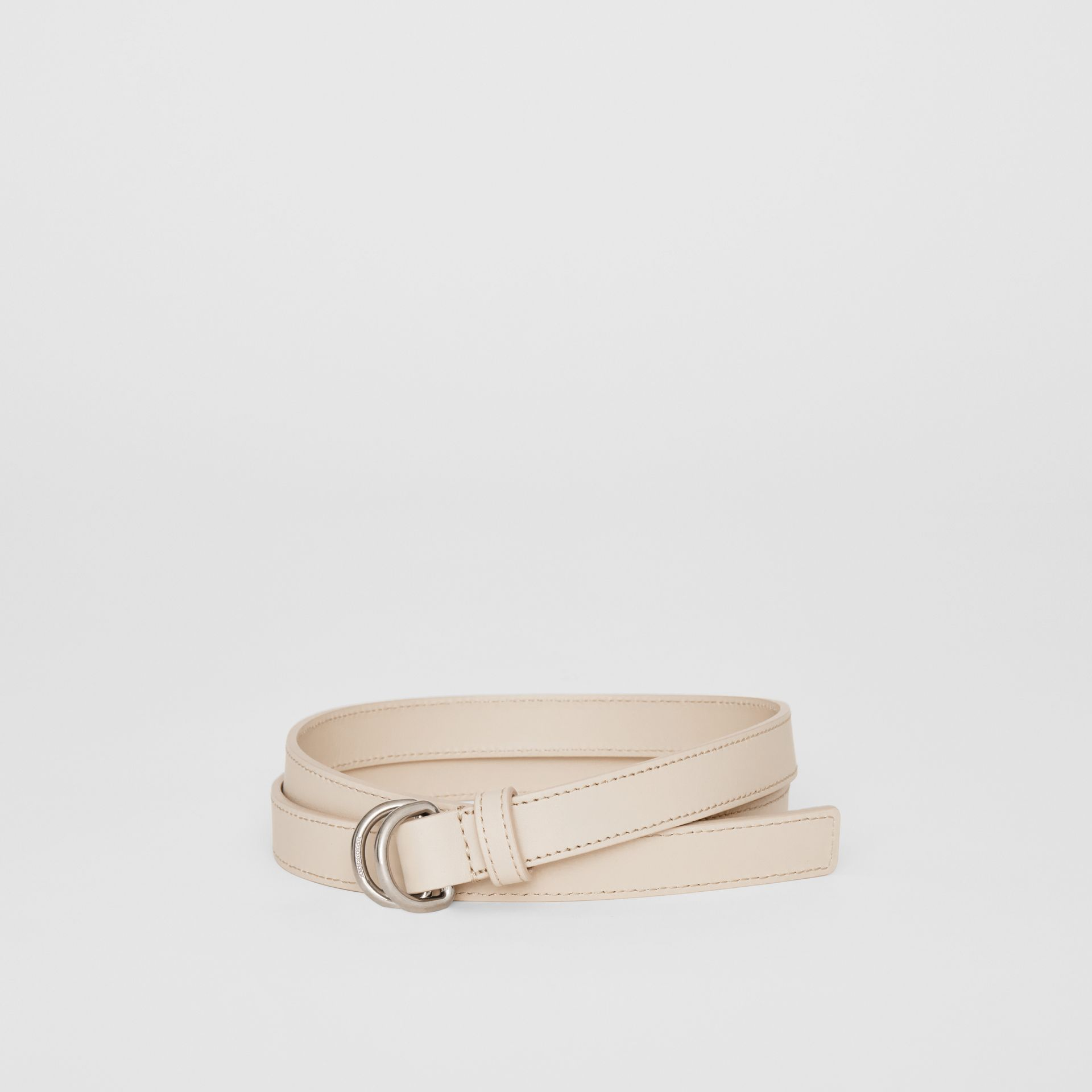 Slim Leather Double D-ring Belt in Limestone - Women | Burberry - gallery image 0