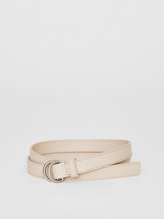 Slim Leather Double D-ring Belt in Limestone