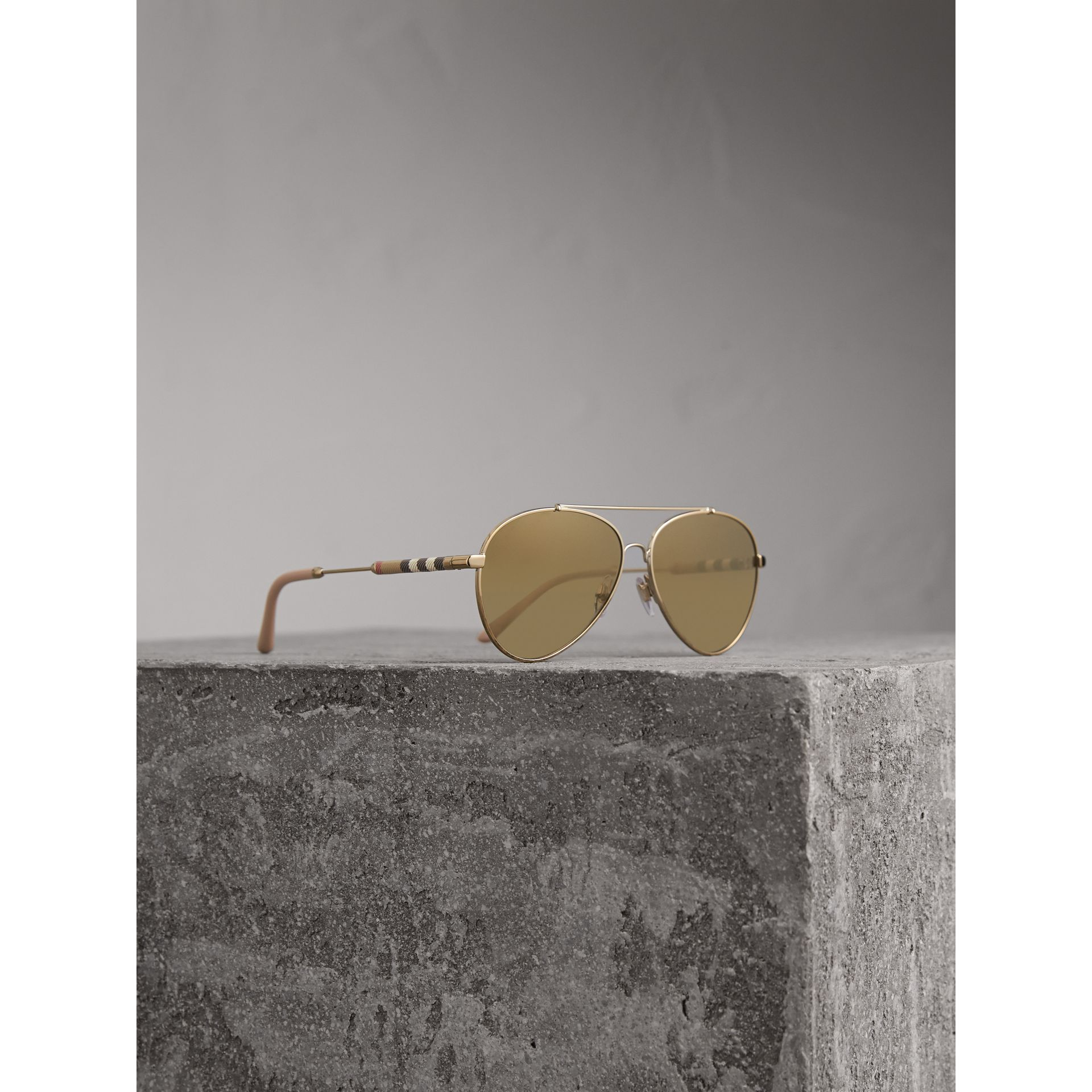 Check Detail Mirrored Pilot Sunglasses in Nude - Women | Burberry - gallery image 1