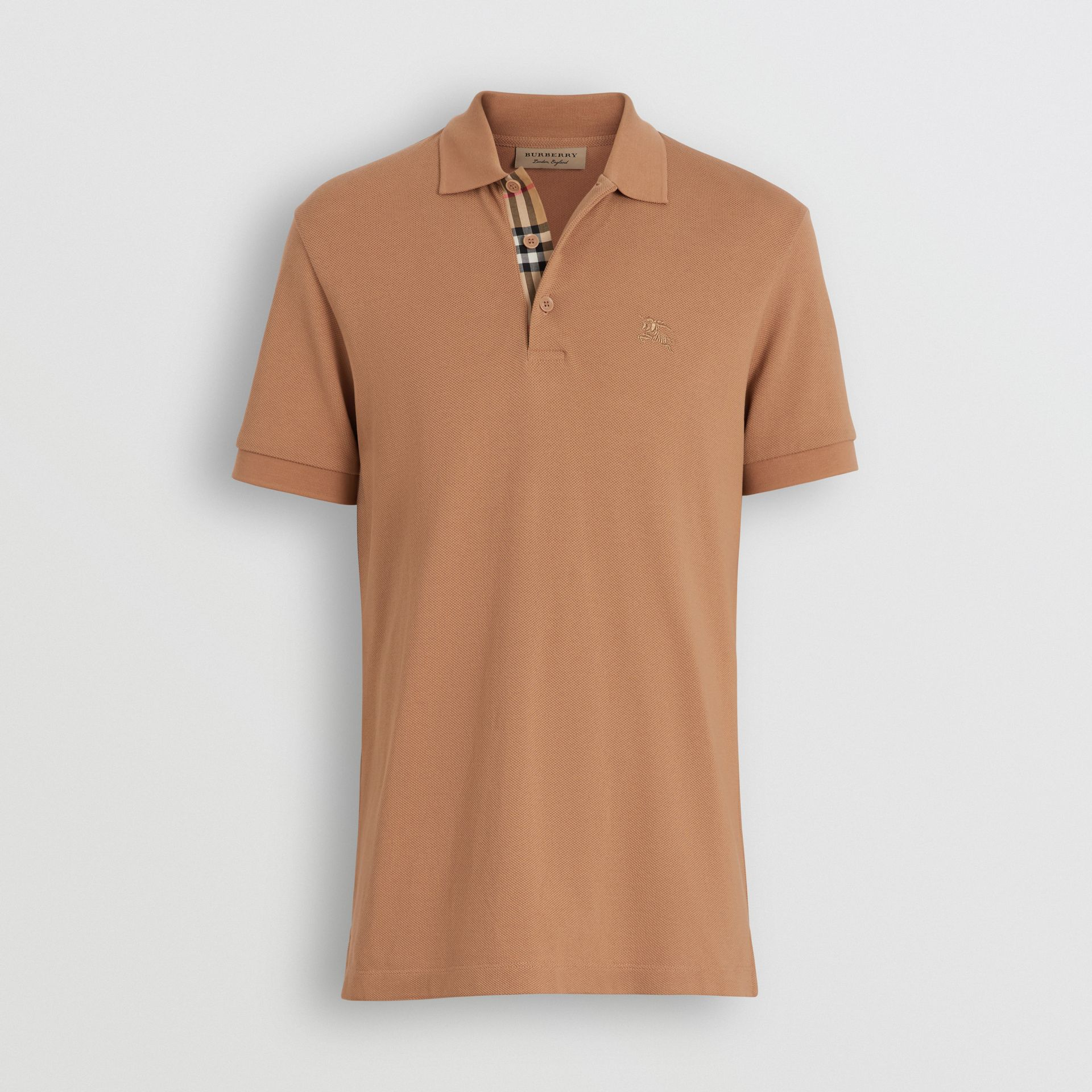 Check Placket Cotton Polo Shirt in Camel - Men | Burberry - gallery image 3
