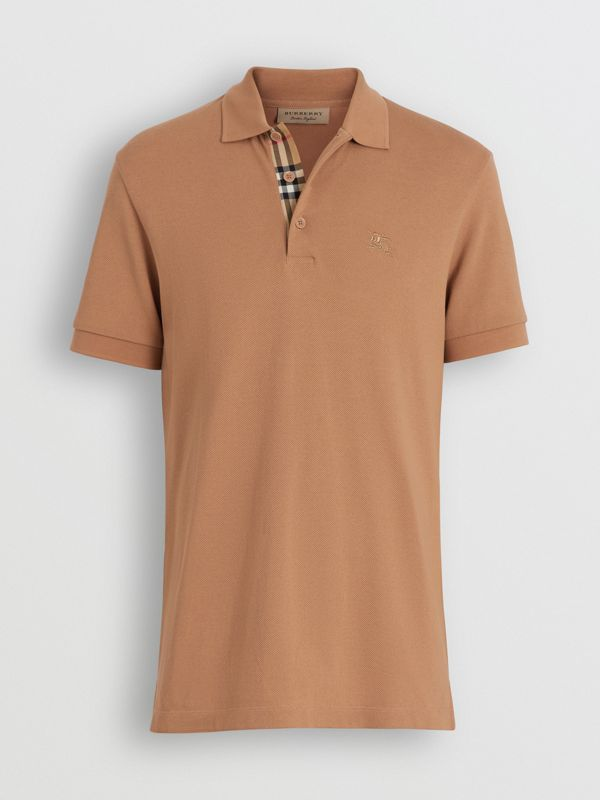 Check Placket Cotton Polo Shirt in Camel - Men | Burberry - cell image 3