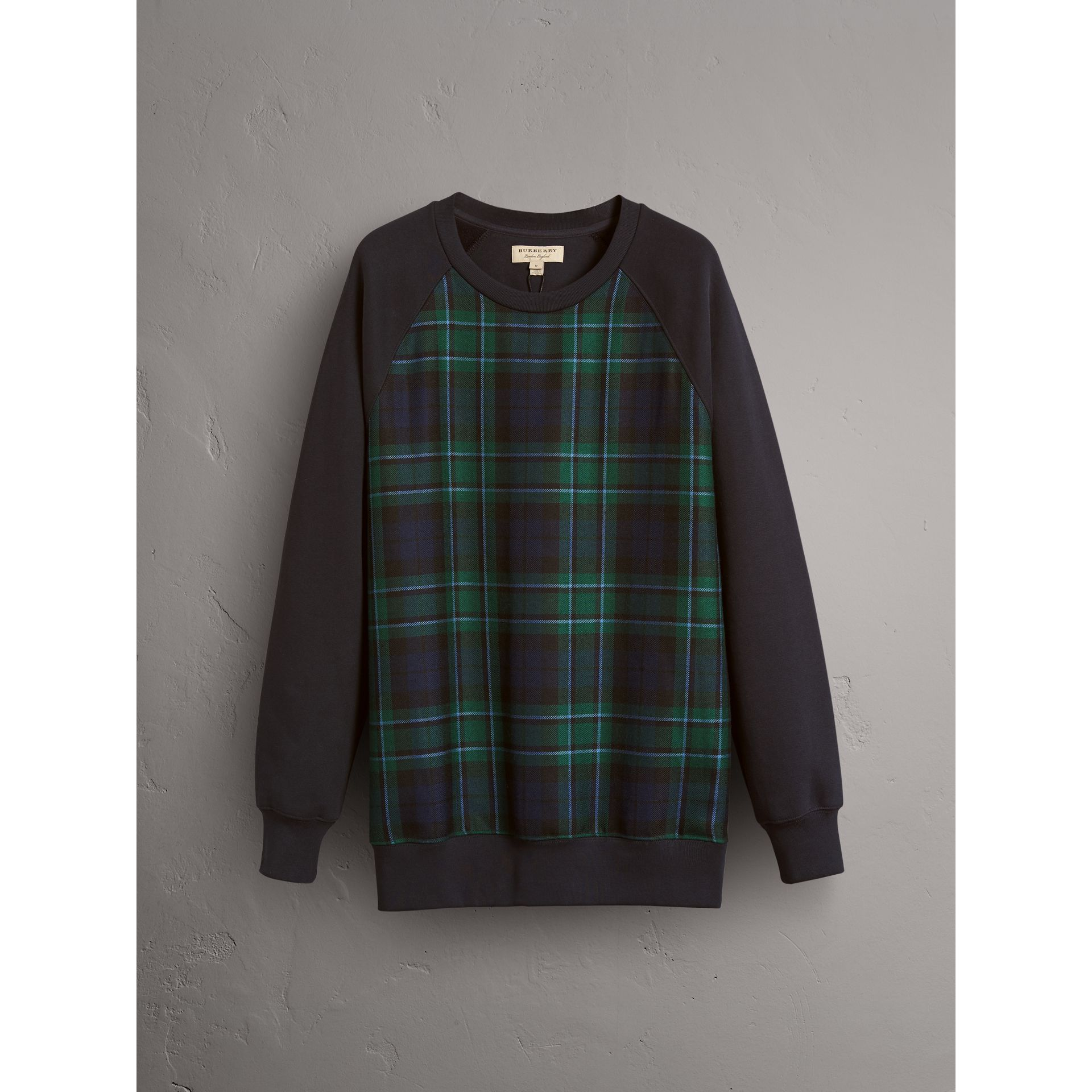 Tartan Panel Jersey Sweatshirt in Navy - Men | Burberry - gallery image 3