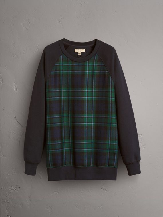Tartan Panel Jersey Sweatshirt in Navy