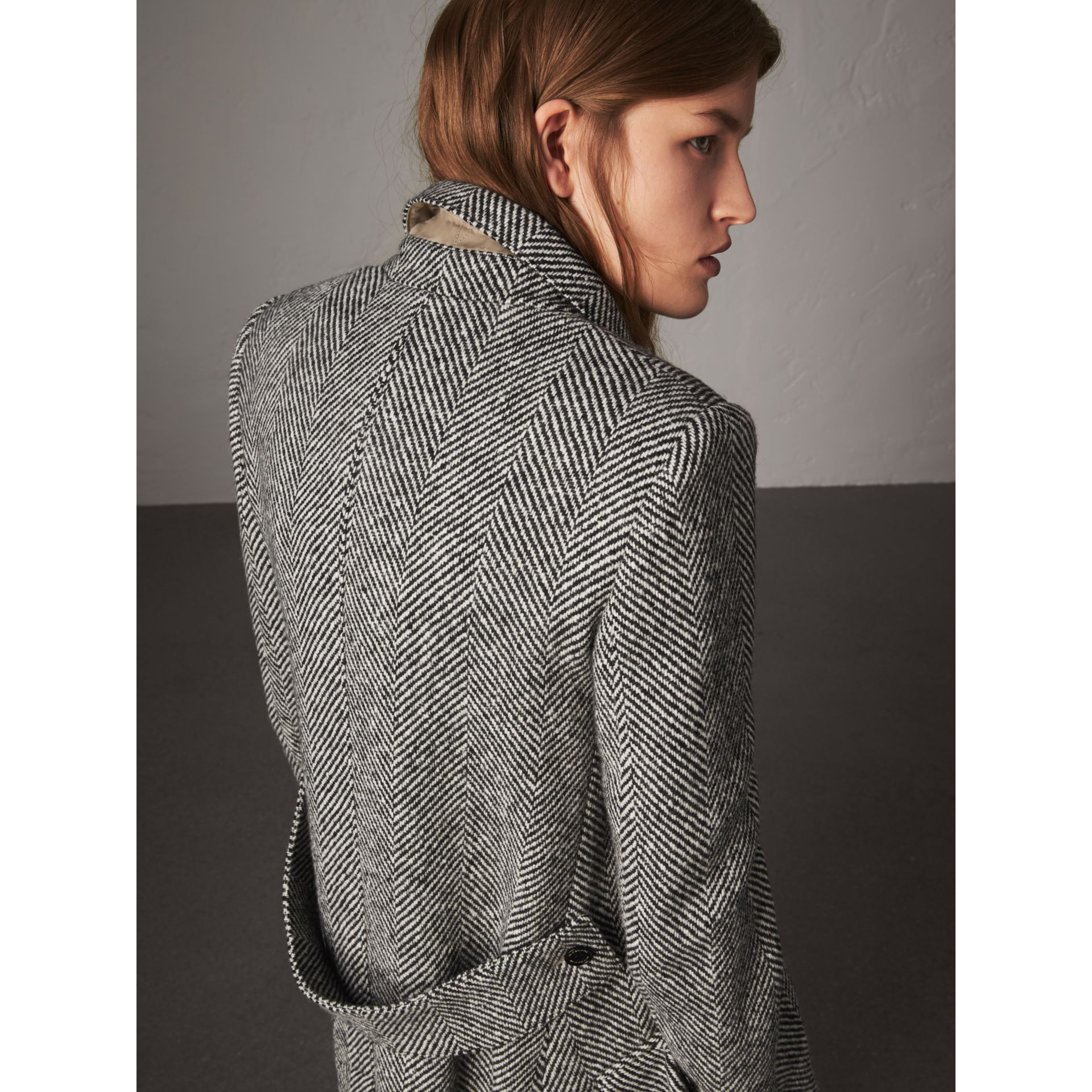 Donegal Herringbone Wool Tweed Tailored Coat in Black - Women | Burberry Singapore - gallery image 2