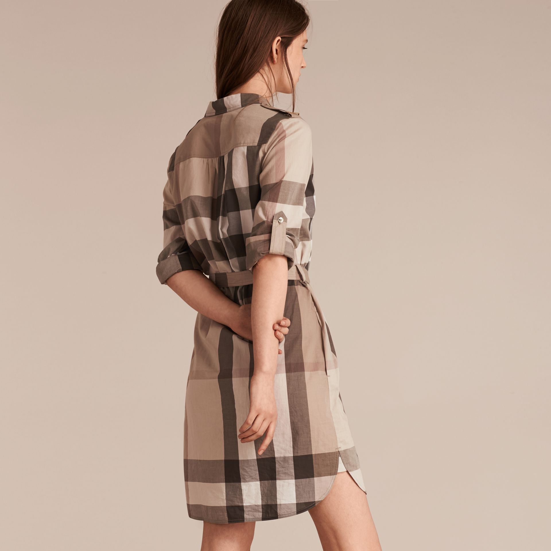 Check Cotton Shirt Dress in Pale Stone - gallery image 3
