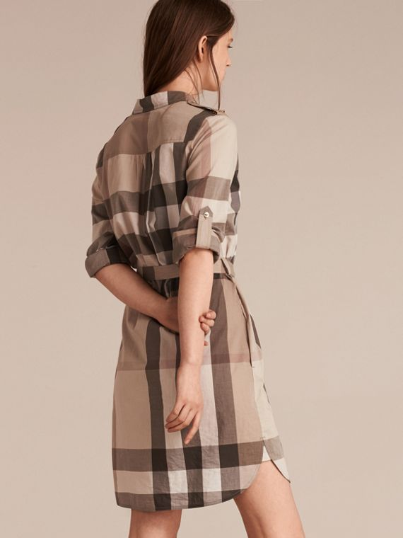 Check Cotton Shirt Dress Pale Stone - cell image 2