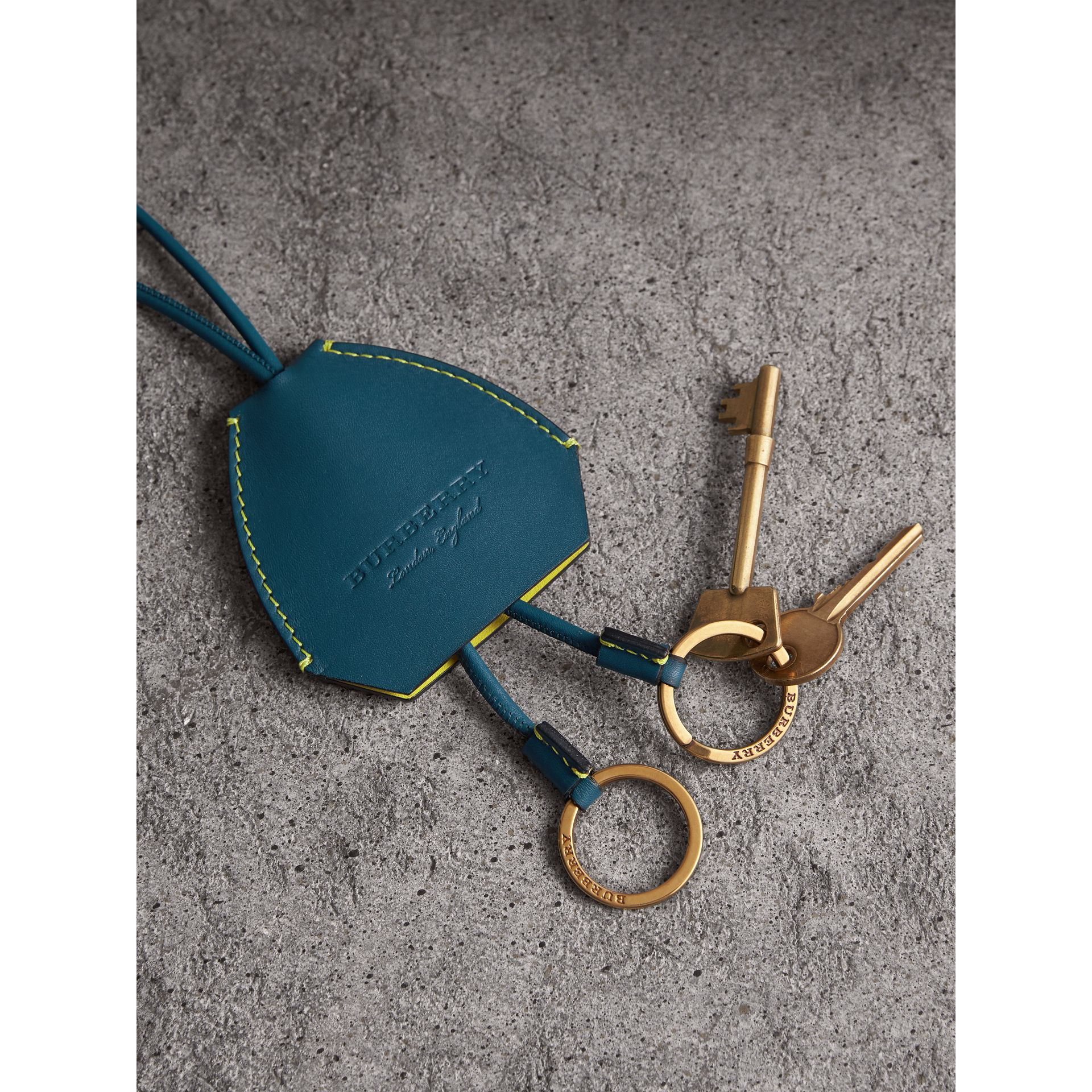 Equestrian Shield Leather Key Charm in Mid Indigo - Women | Burberry - gallery image 2