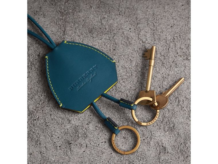 Equestrian Shield Leather Key Charm in Mid Indigo - Women | Burberry Canada - cell image 1