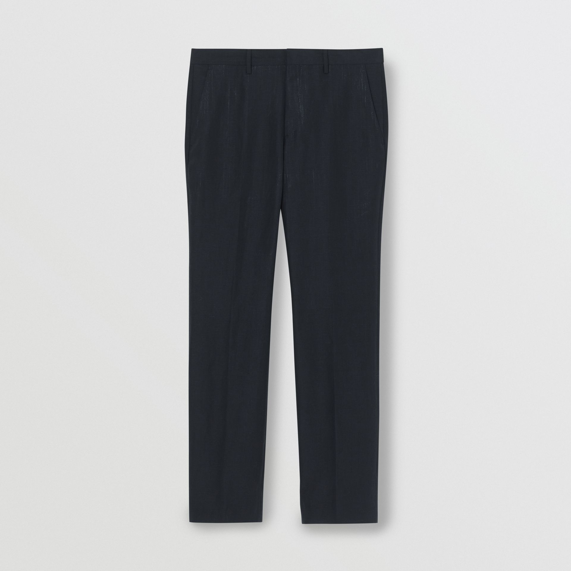 Classic Fit Mohair Linen Silk Tailored Trousers in Navy - Men | Burberry Singapore - gallery image 3