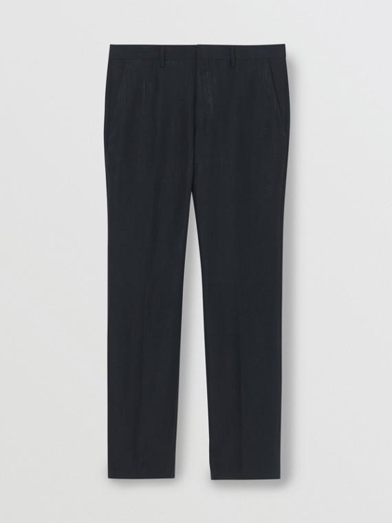 Pantalones de vestir de corte clásico en angora, lino y seda (Azul Marino)