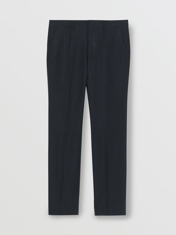 Classic Fit Mohair Linen Silk Tailored Trousers in Navy - Men | Burberry Singapore - cell image 3