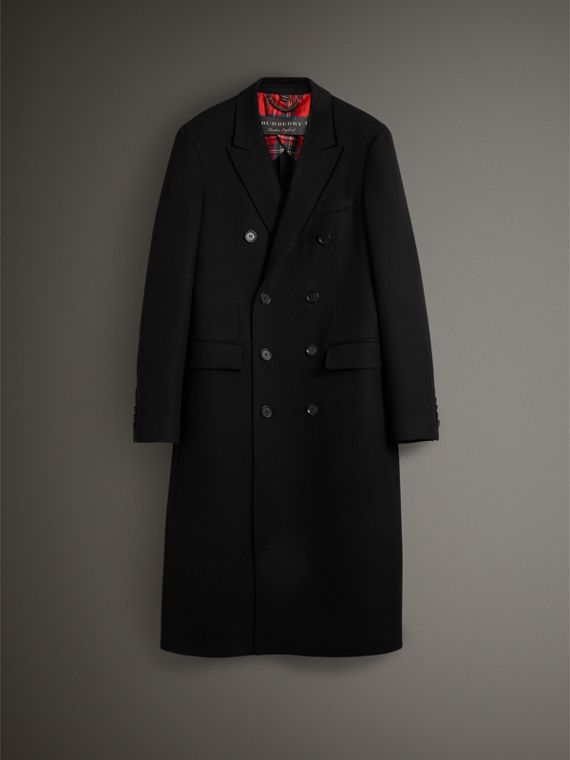Cashmere Double-breasted Chesterfield in Black - Men | Burberry Australia - cell image 3