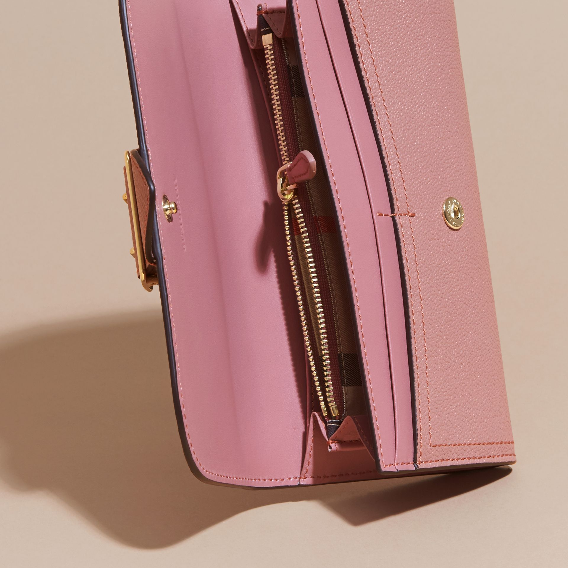 Textured Leather Continental Wallet in Dusty Pink - Women | Burberry - gallery image 5
