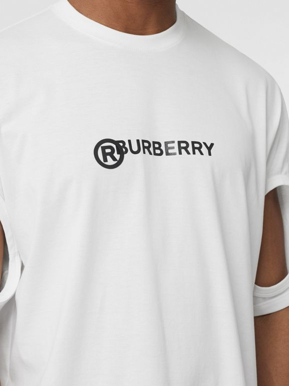 Cut-out Detail Logo Print Cotton T-shirt in Optic White - Men | Burberry - cell image 1